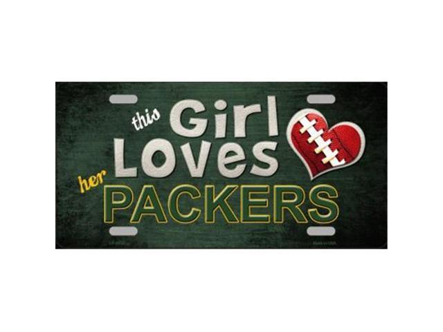 Smart Blonde LP-8035 This Girl Loves Her Packers Novelty Metal License Plate