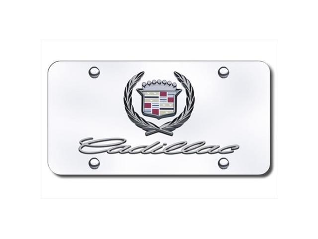 AUTO GOLD DCADCC Cadillac Dual Logo On Chrome License Plate