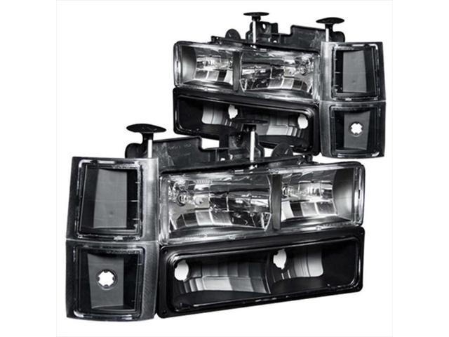 ANZO 111100 Crystal Headlights Black With Signal & Side Marker Lights