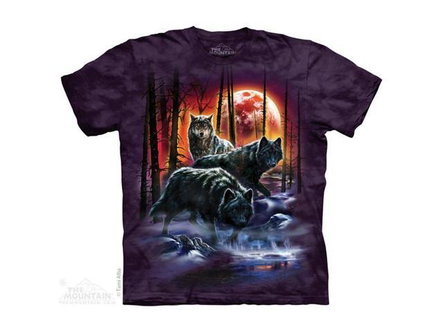 The Mountain 1040012 Fire And Ice Wolves T Shirt, Large
