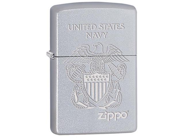 Fox Outdoor 86-25070 USN Seal Zippo Zippo Lighter - Satin Chrome
