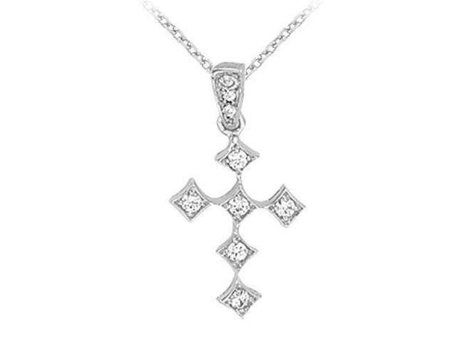 Fine Jewelry Vault UBNPD30904AGCZ April Birthstone Cubic Zirconia Cross Pendant in 925 Sterling Silver
