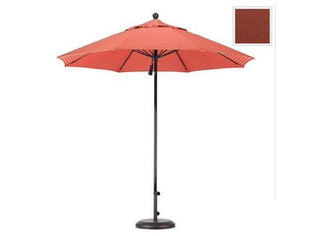 March Products EFFO908-5407 9 ft. Complete Fiberglass Pulley Open Market Umbrella - Black and Sunbrella-Henna