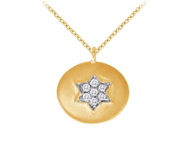 Fine Jewelry Vault UBNPD32211AGVYCZ 18K Yellow Gold Vermeil Cubic Zirconia Star Disc Pendant Necklace 0.05 CT TGW