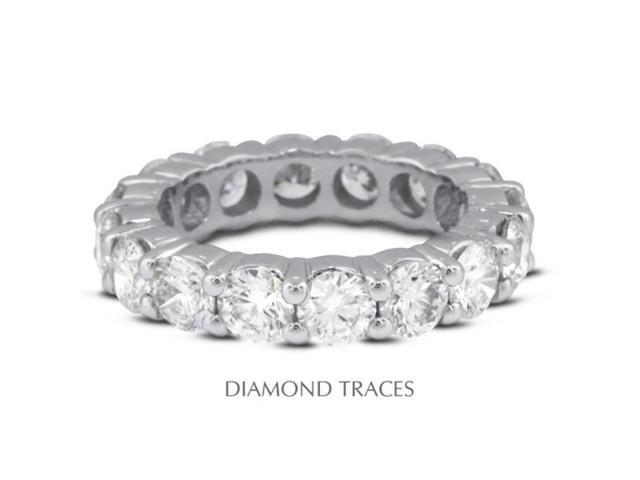 Diamond Traces UD-EWB100-2934 18K White Gold 4-Prong Setting 4.01 Carat Total Natural Diamonds Classic Eternity Ring