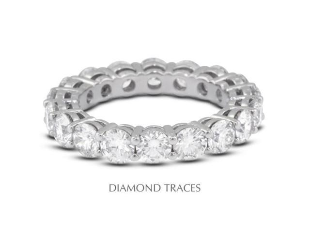Diamond Traces UD-EWB446-4940 Platinum 950 4-Prong Setting, 3.61 Carat Total Natural Diamonds Basket Eternity Ring