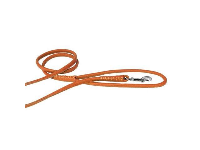 Dogline L2040-4 48 L x 0.25 W in. Round Leather Leash, Orange