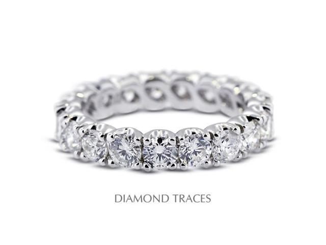 Diamond Traces UD-EWB304-7800 18K White Gold 4-Prong Setting, 3.76 Carat Total Natural Diamonds Classic Eternity Ring