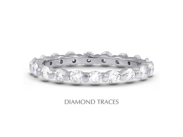 Diamond Traces UD-EWB102-0909 14K White Gold Bar Setting 3.26 Carat Total Natural Diamonds Classic Eternity Ring