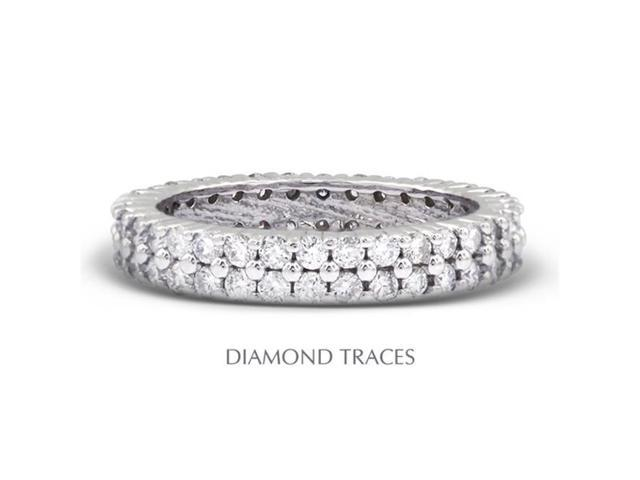 Diamond Traces UD-EWB178-6716 18K White Gold Prong Setting 3.81 Carat Total Natural Diamonds Two Row Band Eternity Ring