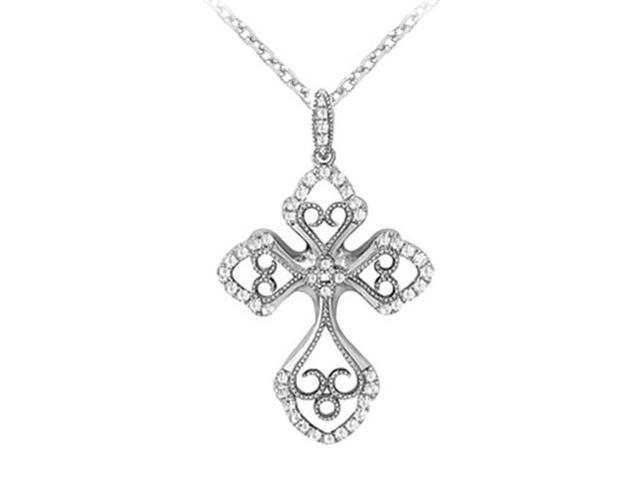 Fine Jewelry Vault UBNPD32363AGCZ April Birthstone Cubic Zirconia Cross and Heart Pendant in 925 Sterling Silver