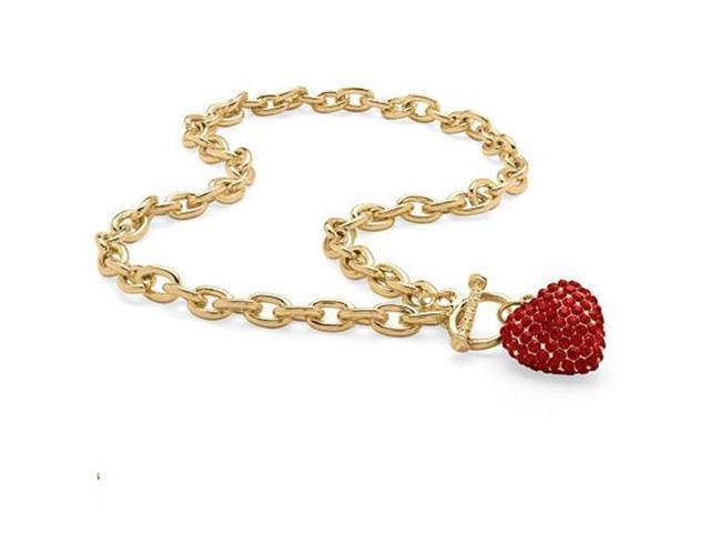 PalmBeach Jewelry 5285507 Crystal Heart Charm Birthstone Toggle Necklace in Yellow Gold Tone July - Simulated Ruby