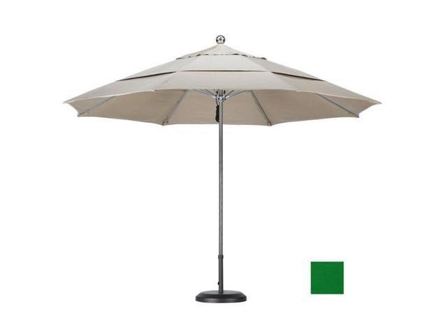 March Products LUXY118-SA46-DWV 11 ft. Stainless Steel SinglePole Fiberglass Ribs Market Umbrella DV - Anodized-Pacifica-Hunter Green