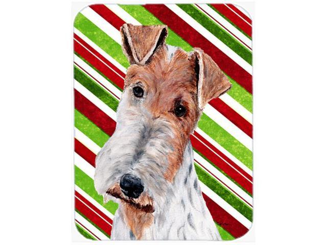 Wire Fox Terrier Candy Cane Christmas Glass Cutting Board Large Size SC9796LCB