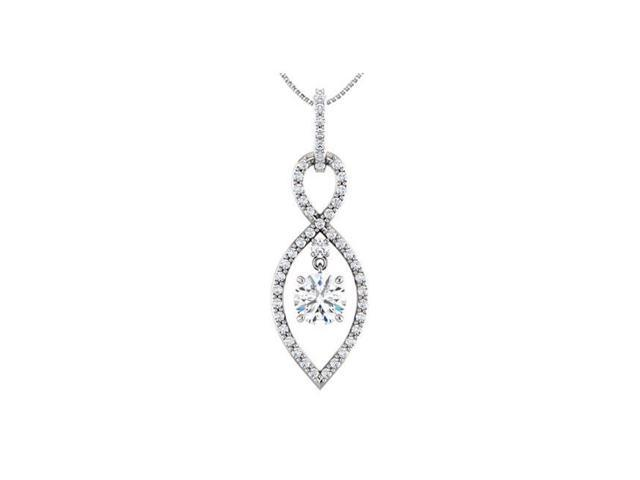 Fine Jewelry Vault UBPDS85436W14CZ Infinity Inspired Pendant in 14K White Gold with Triple Quality CZ Totaling 1.50 Carat