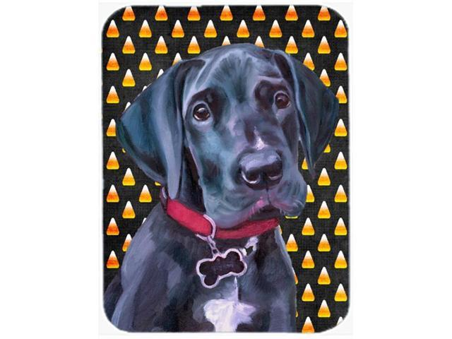 Black Great Dane Puppy Candy Corn Halloween Glass Cutting Board Large LH9551LCB