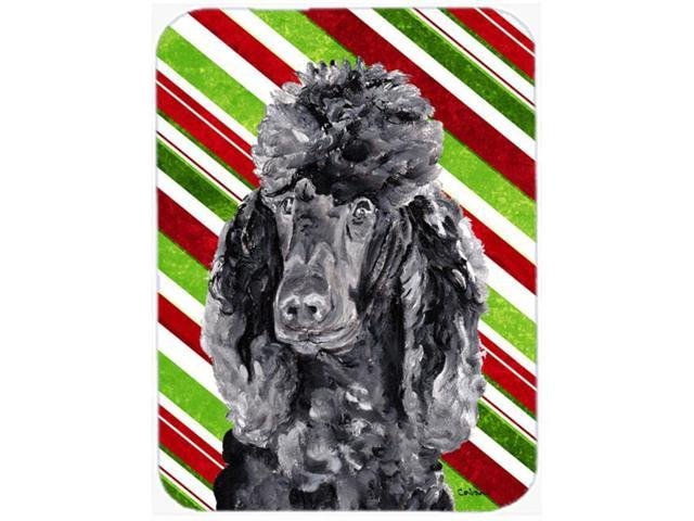 Black Standard Poodle Candy Cane Christmas Glass Cutting Board Large Size SC9794LCB