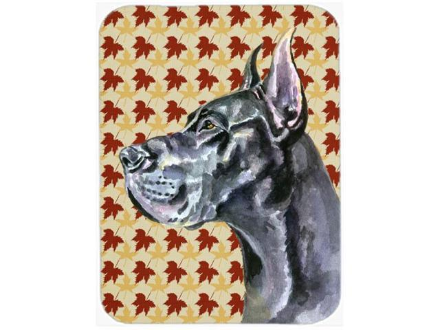 Black Great Dane Fall Leaves Glass Cutting Board Large LH9557LCB