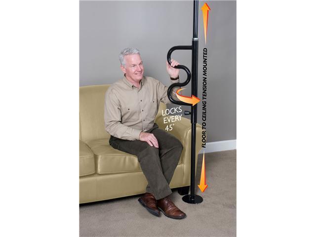 Stander Security Pole & Curve Grab Bar-Black