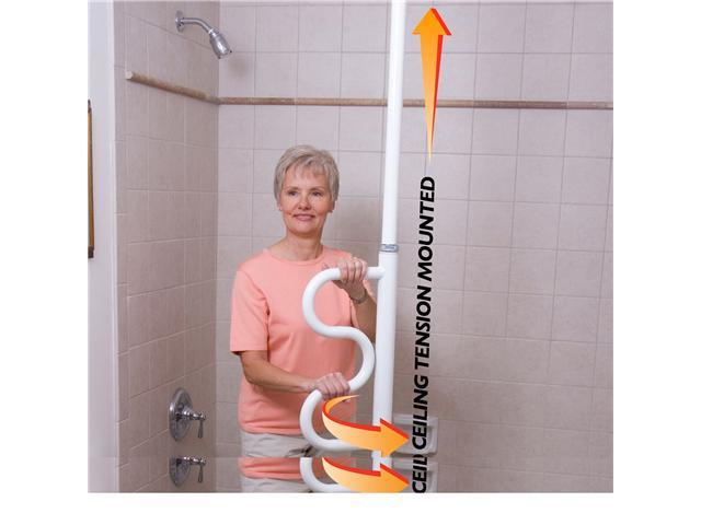 Stander Security Pole & Curve Grab Bar-White