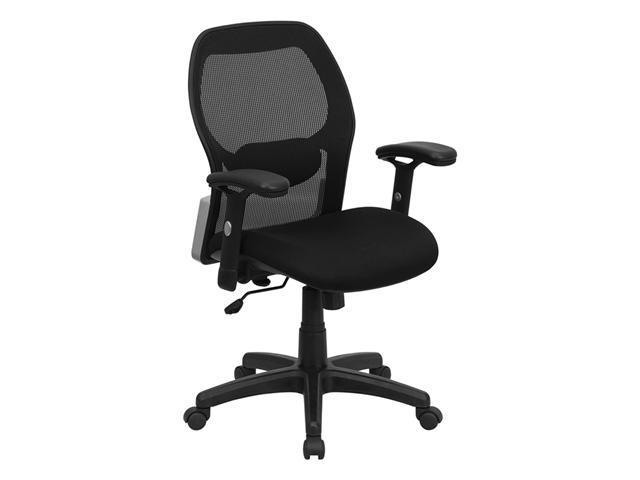 Flash Furniture Mid-Back Super Mesh Office Chair with Black Fabric Seat [LF-W42B-GG]