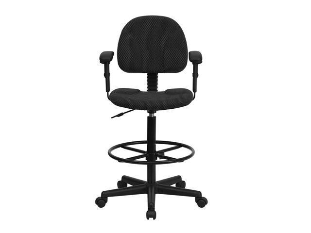 Offex Black Patterned Fabric Multi-Functional Ergonomic Drafting Stool with Arms