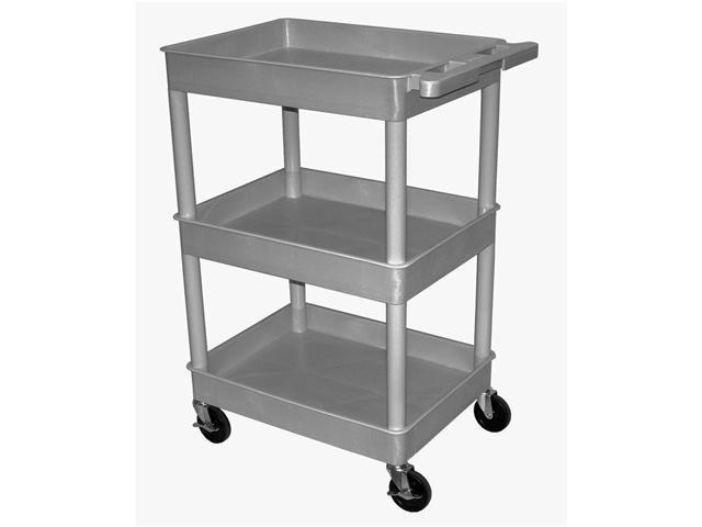 Luxor STC111-G Three Shelves Tub Cart- Gray