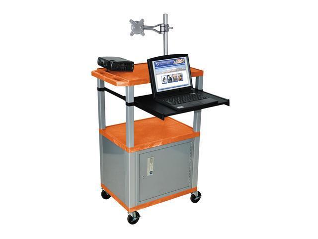 H Wilson WT42C4M-N Tuffy Monitor Mount AV Cart Orange with Cabinet 3 Shelves Nickel Legs