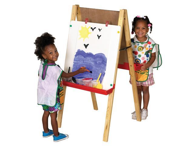 Ecr4kids PreSchool/Kids Double Sided Adjustable Easel with Chalkboard and White Dry Erase Board w/ (Two Paint Trays and 4 ...