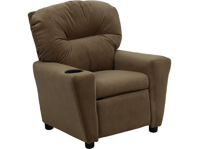 Flash Furniture Contemporary Brown Microfiber Kids Recliner with Cup Holder [BT-7950-KID-MIC-BRWN-GG]