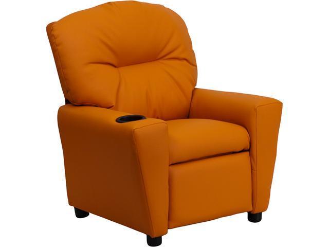 Flash Furniture Contemporary Orange Vinyl Kids Recliner with Cup Holder [BT-7950-KID-ORANGE-GG] - OEM