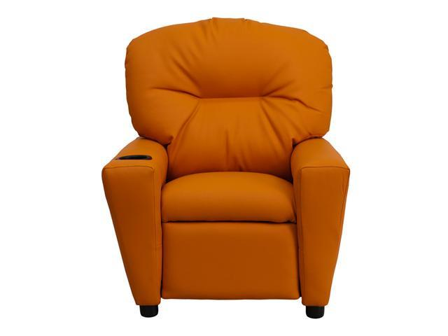 Flash Furniture Contemporary Orange Vinyl Kids Recliner with Cup Holder [BT-7950-KID-ORANGE-GG]