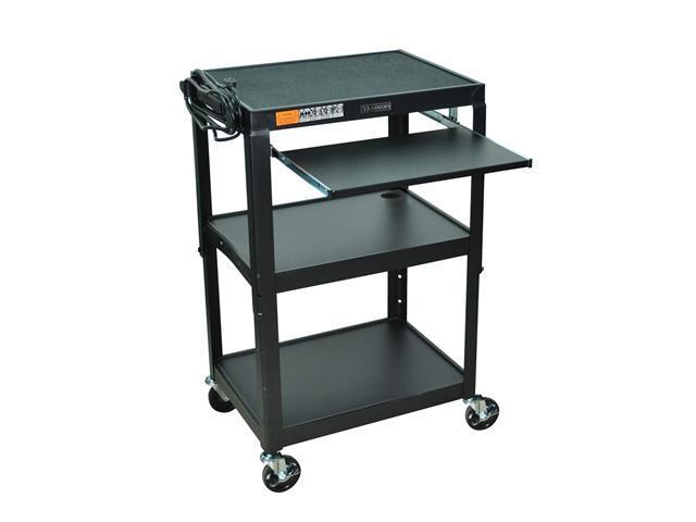 "Luxor 42"" Adjustable Height Steel Cart With Pullout Keyboard Tray"