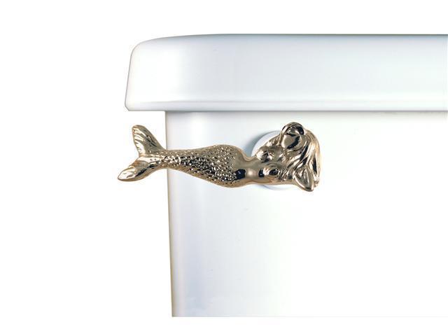 Functional Fine Art Satin Pewter Mermaid Toilet Handle-Fromt Tank Mount