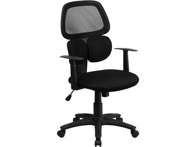 Flash Furniture Adjustable Mid-Back Multifunction Black Mesh Computer Chair with Flexible Dual Lumbar Support