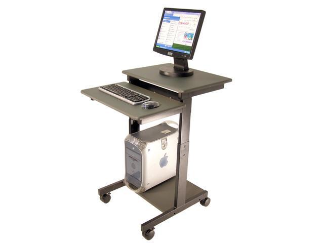 Luxor PS3945 Mobile Adjustable Height Presentation Computer Workstation Lectern Gray
