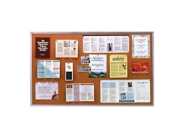 Ghent Natural Cork Bulletin Board with Aluminum Frame, 4'H x 10'W