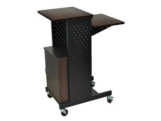 Luxor Mobile Height Adjustable Computer Presentation / Workstation Cart With Lockable Storage Cabinet, Shelf, 2 Locking Brakes And 4 Casters - Walnut