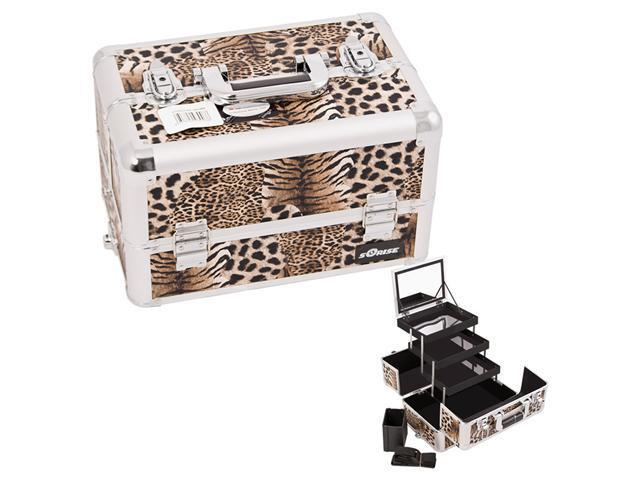 Sunrise Brown Interchangeable 3-Tier Extendable Tray Leopard Textured professional Aluminum Cosmetic Makeup Artist Case With Mirror