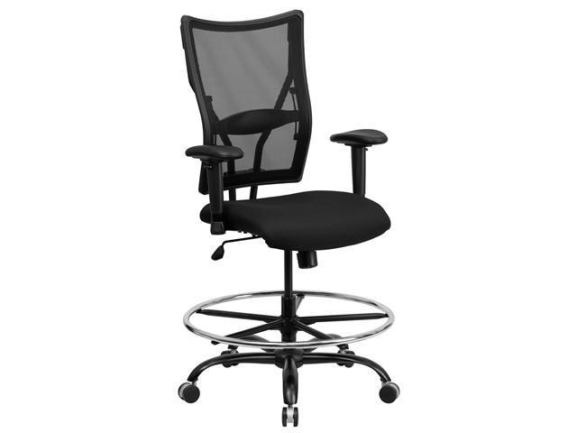 Flash Furniture Hercules Series Multi Functional Medical High Back Black Office Mesh Drafting Stool with Arms and Foot Rest
