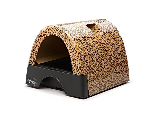 Kitty A Go Go Leopard Print Designer Cat Washroom Neat Litter Box With Pullout Drawer