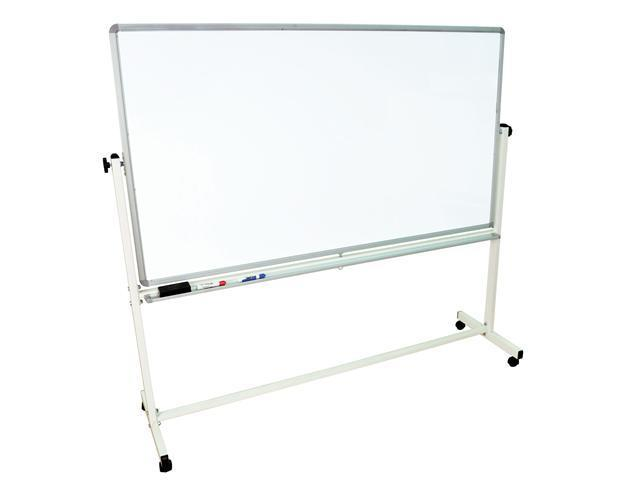 """Luxor Mobile White Double Sided 72"""" W x 40"""" H Dry-Erase Adjustable Magnetic Whiteboard Easel With Silver Frame, 4 Casters ..."""