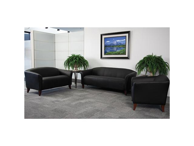 Flash Furniture Hercules Imperial Series Black Leather Office Guest Waiting Room Reception Set
