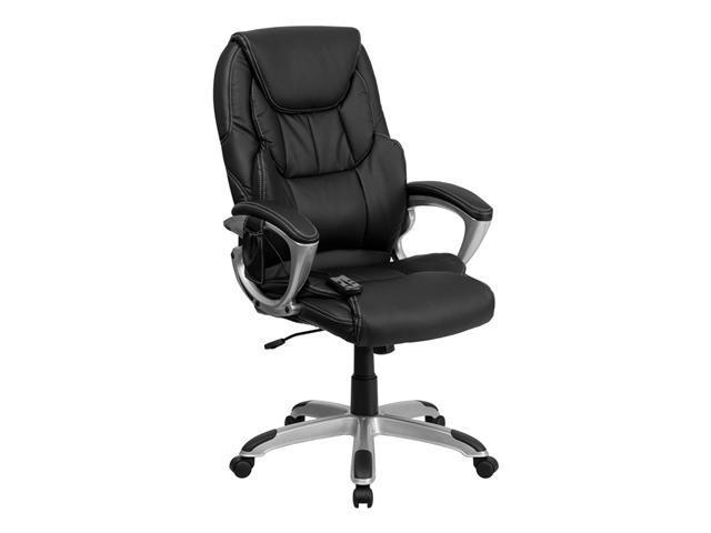 Flash Furniture High Back Massaging Black Leather Adjustable Executive Office Chair with Silver Base