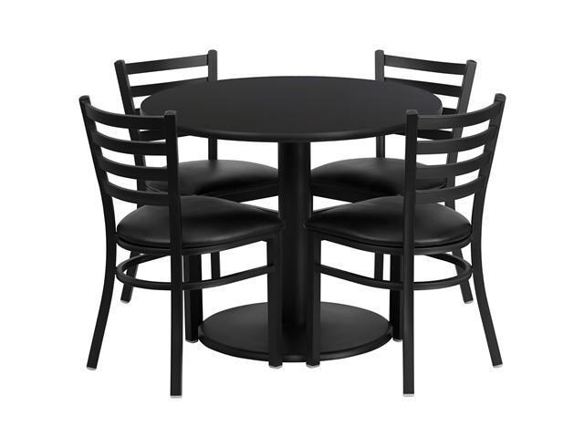 Flash Furniture 36'' Round Black Laminate Restaurant Dining Table Set with 3 Ladder Back Metal Chairs Black Vinyl Seat