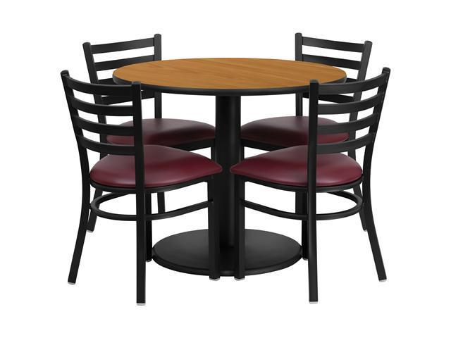 Flash Furniture 36'' Round Natural Laminate Restaurant Dining Table Set with 4 Ladder Back Metal Chairs Burgundy Vinyl Seat