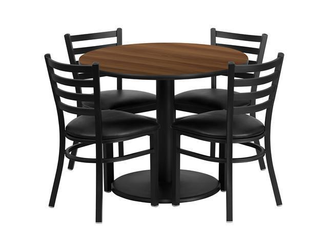 Flash Furniture 36'' Round Walnut Laminate Restaurant Dining Table Set with 4 Ladder Back Metal Chairs Black Vinyl Seat