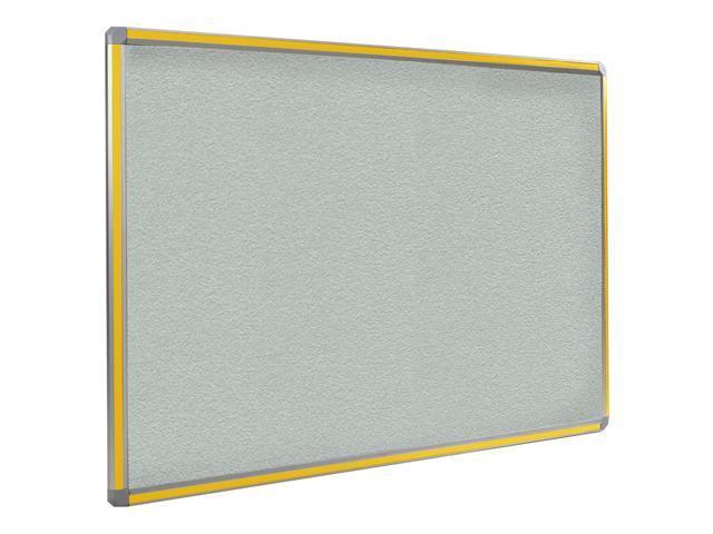 Ghent 4x6 DecoAurora Aluminum Frame Stone Vinyl Tackboard - Yellow Trim