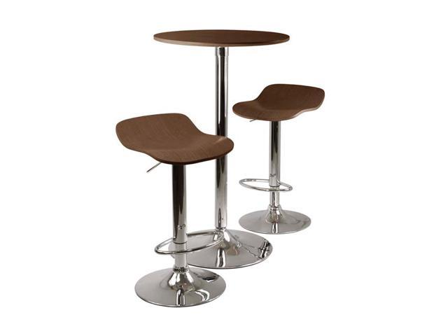 Winsome Wood Metal Kallie 3 Piece Pub Table And Stools Set In Cappuccino