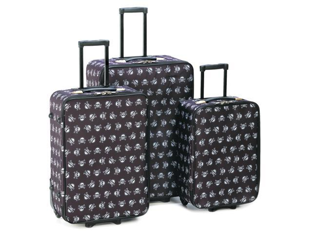 Three Piece Luxurious Outdoor Household Essential Travel Vacation Stylish Skull And Crossbones Pattern Wheeled Luggage Trio